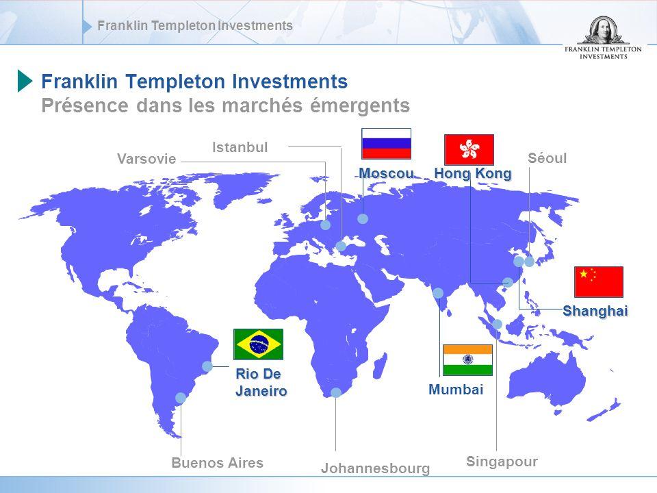Franklin Templeton Investments Investir dans les pays BRIC = Diversification sectorielle MSCI BrésilMSCI ChineMSCI IndeMSCI Russie Répartition par secteurs, MSCI, Juillet 2006 Biens de consommation durable0.8%6.5%6.8% Biens de consommation courante7.4%0.9%8.5%0.5% Energie26.0%6.2%18.2%63.4% Finance17.0%28.7%18.5%4.7% Santé0.2%0.0%6.7% Industries4.1%11.1%7.7% Technologies de linformation26.4%22.0% Matériaux29.4%6.3%7.1%9.8% Services de télécommunication9.1%7.4%1.4%17.3% Services publics5.9%6.3%3.2%4.2% Total100.0%
