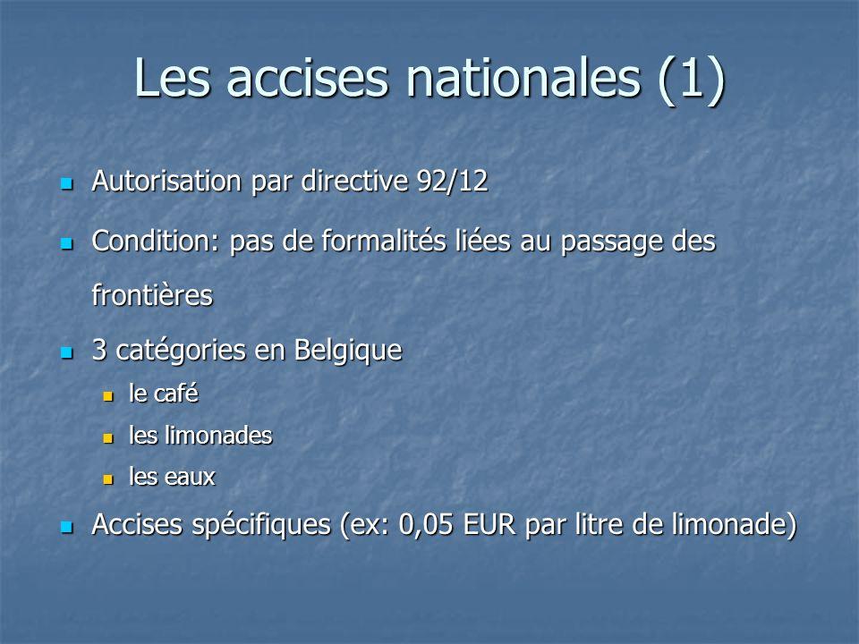Les accises nationales (1) Autorisation par directive 92/12 Autorisation par directive 92/12 Condition: pas de formalités liées au passage des frontiè