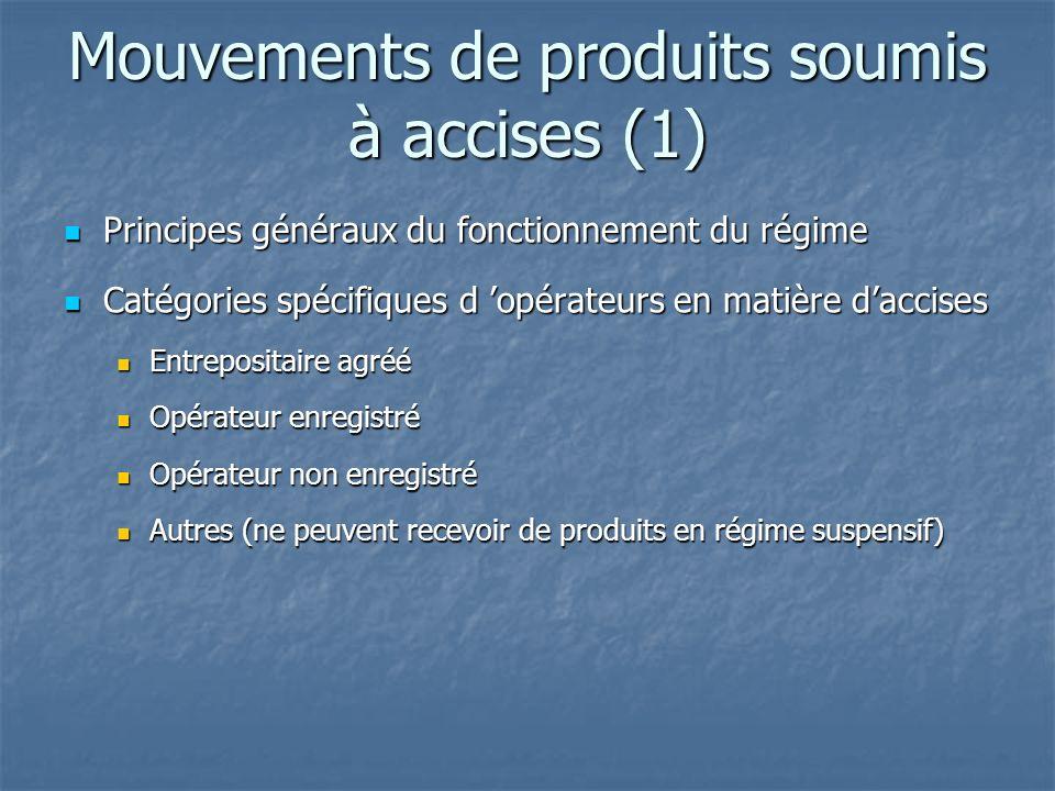 Mouvements de produits soumis à accises (1) Principes généraux du fonctionnement du régime Principes généraux du fonctionnement du régime Catégories s