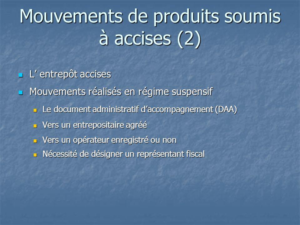 Mouvements de produits soumis à accises (2) L entrepôt accises L entrepôt accises Mouvements réalisés en régime suspensif Mouvements réalisés en régim