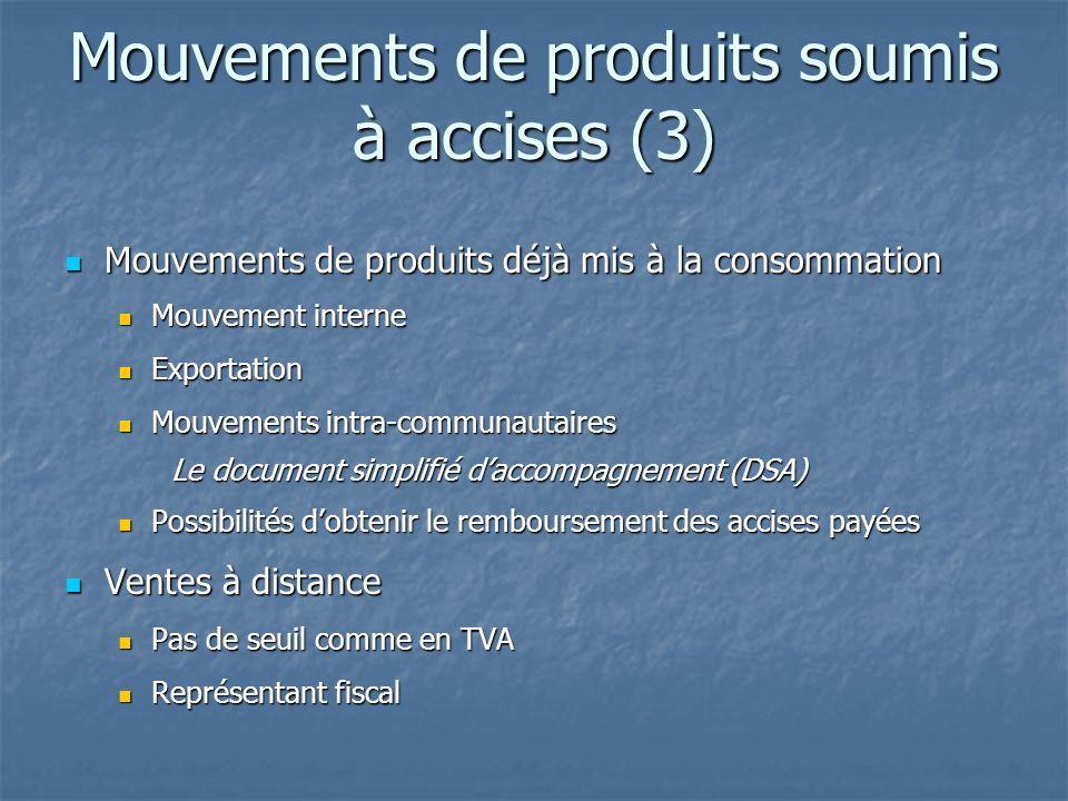 Mouvements de produits soumis à accises (3) Mouvements de produits déjà mis à la consommation Mouvements de produits déjà mis à la consommation Mouvem