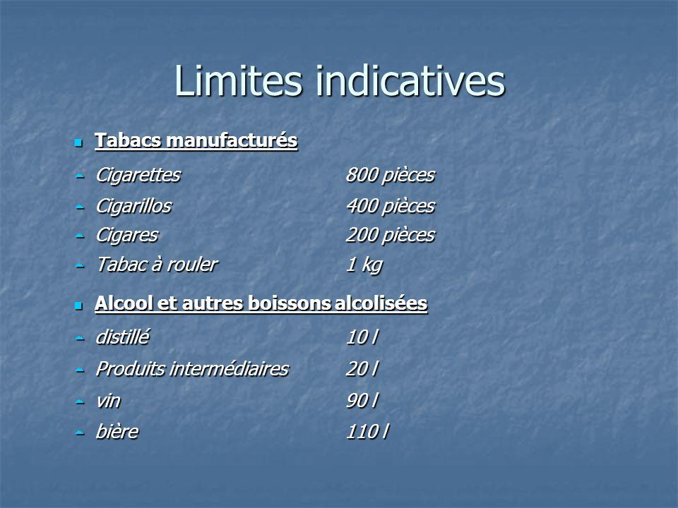 Limites indicatives Tabacs manufacturés Tabacs manufacturés Cigarettes 800 pièces Cigarettes 800 pièces Cigarillos400 pièces Cigarillos400 pièces Ciga