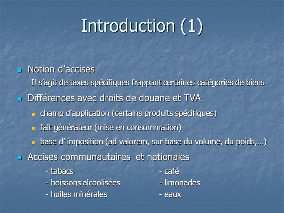 Introduction (1) Notion daccises Notion daccises Il sagit de taxes spécifiques frappant certaines catégories de biens Différences avec droits de douan