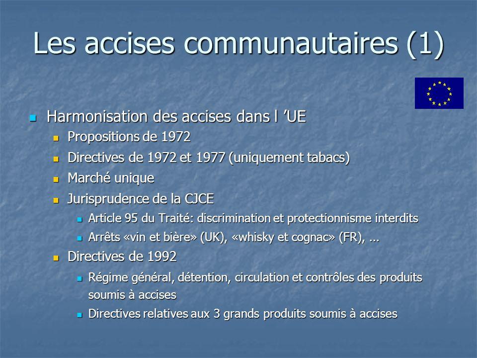 Les accises communautaires (1) Harmonisation des accises dans l UE Harmonisation des accises dans l UE Propositions de 1972 Propositions de 1972 Direc