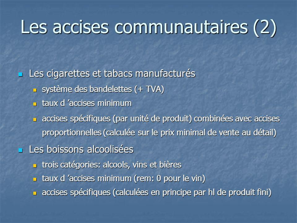 Les accises communautaires (2) Les cigarettes et tabacs manufacturés Les cigarettes et tabacs manufacturés système des bandelettes (+ TVA) système des