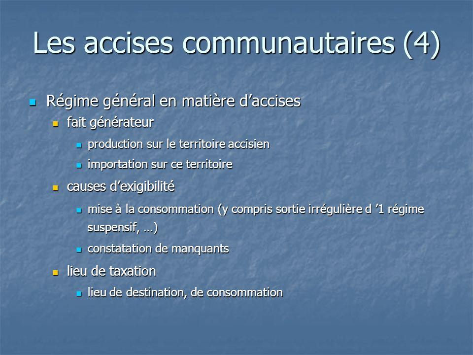 Les accises communautaires (4) Régime général en matière daccises Régime général en matière daccises fait générateur fait générateur production sur le
