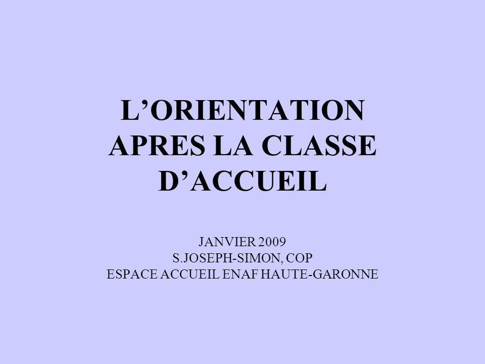 LORIENTATION APRES LA CLASSE DACCUEIL JANVIER 2009 S.JOSEPH-SIMON, COP ESPACE ACCUEIL ENAF HAUTE-GARONNE