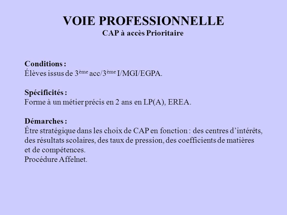 VOIE PROFESSIONNELLE CAP à accès Prioritaire Conditions : Élèves issus de 3 ème acc/3 ème I/MGI/EGPA. Spécificités : Forme à un métier précis en 2 ans