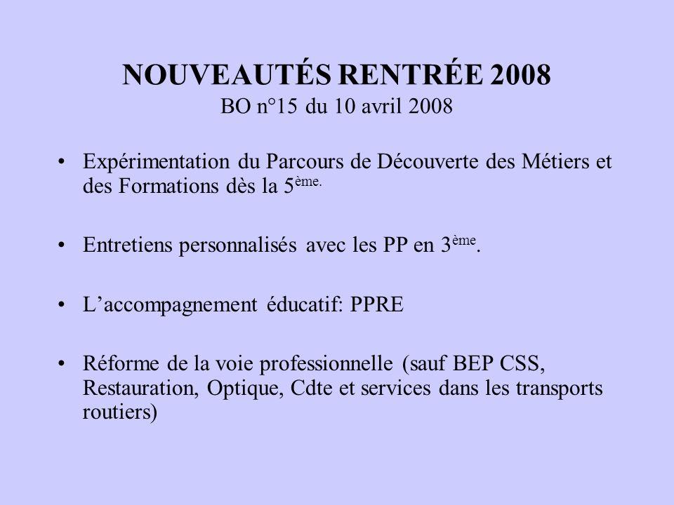 NOUVEAUTÉS RENTRÉE 2008 BO n°15 du 10 avril 2008 Expérimentation du Parcours de Découverte des Métiers et des Formations dès la 5 ème. Entretiens pers