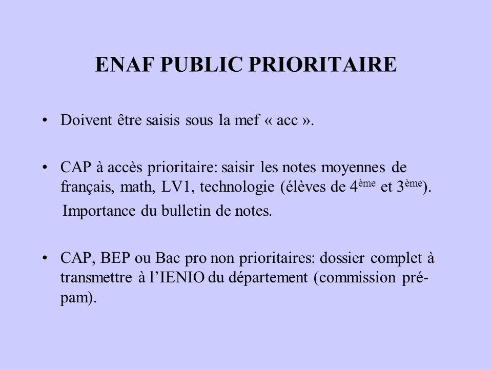 ENAF PUBLIC PRIORITAIRE Doivent être saisis sous la mef « acc ». CAP à accès prioritaire: saisir les notes moyennes de français, math, LV1, technologi