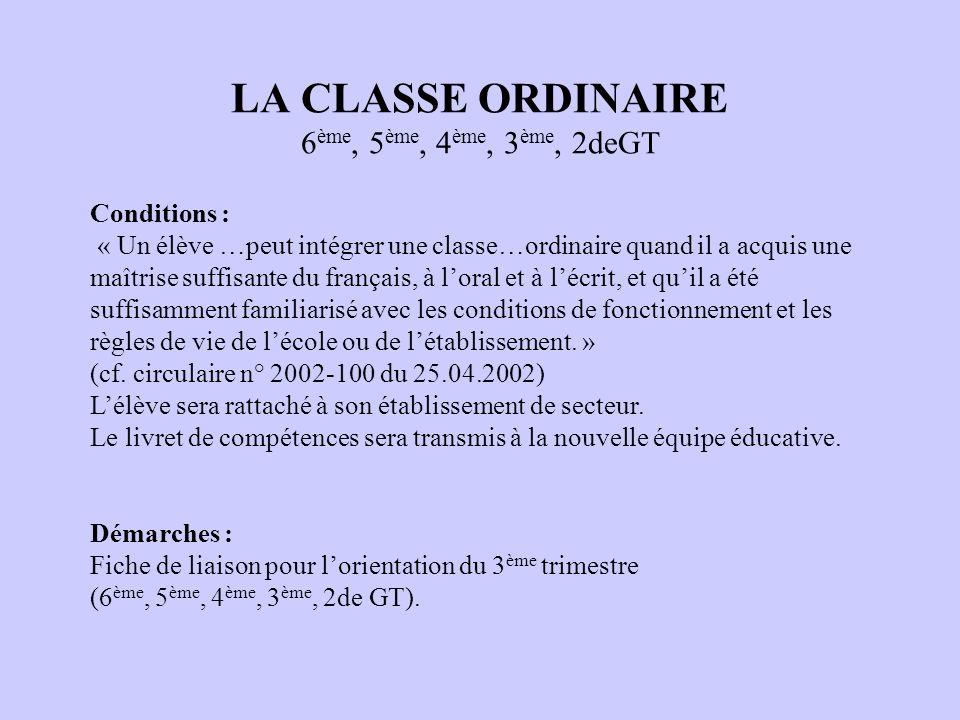 LA CLASSE ORDINAIRE 6 ème, 5 ème, 4 ème, 3 ème, 2deGT Conditions : « Un élève …peut intégrer une classe…ordinaire quand il a acquis une maîtrise suffi