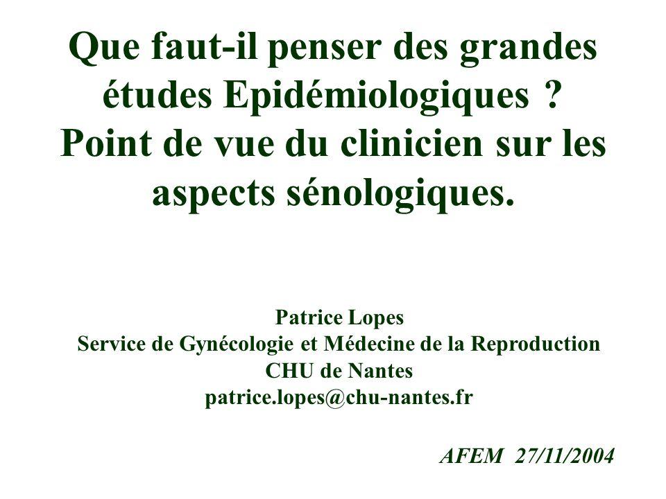 Patrice Lopes Service de Gynécologie et Médecine de la Reproduction CHU de Nantes patrice.lopes@chu-nantes.fr AFEM 27/11/2004 Que faut-il penser des grandes études Epidémiologiques .