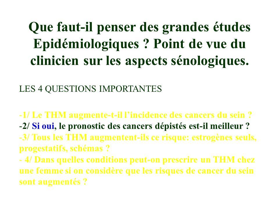 LES 4 QUESTIONS IMPORTANTES -1/ Le THM augmente-t-il lincidence des cancers du sein .