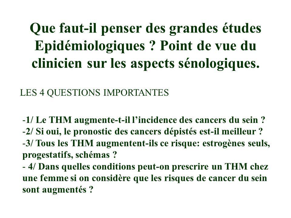COLLABORATIVE GROUP ON HORMONAL FACTORS IN BREAST CANCER Lancet 1997 Le THM augmente-t-il lincidence des cancers du sein .