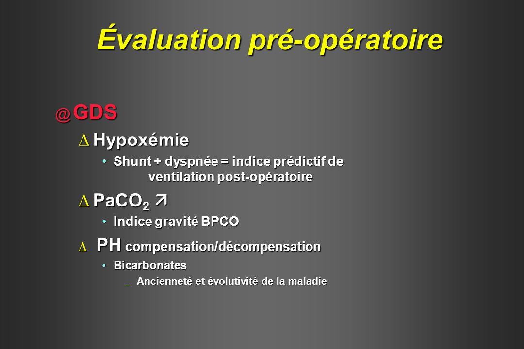 @ GDS HypoxémieHypoxémie Shunt + dyspnée = indice prédictif de ventilation post-opératoireShunt + dyspnée = indice prédictif de ventilation post-opéra