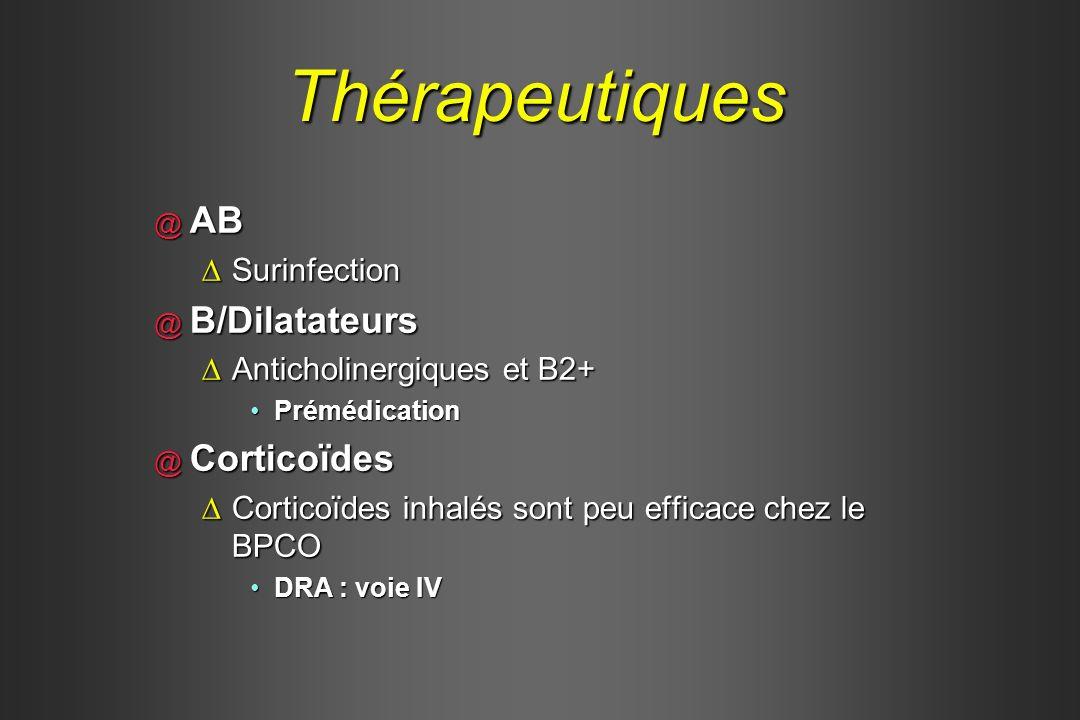 Thérapeutiques @ AB SurinfectionSurinfection @ B/Dilatateurs Anticholinergiques et B2+Anticholinergiques et B2+ PrémédicationPrémédication @ Corticoïd