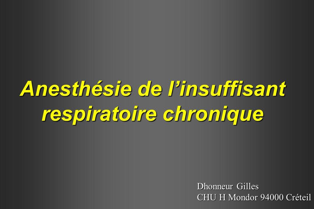 Anesthésie de linsuffisant respiratoire chronique Dhonneur Gilles CHU H Mondor 94000 Créteil