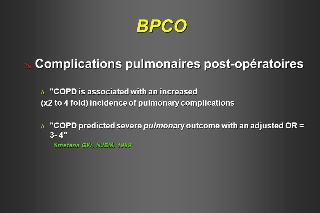 Mortalité péri-opératoire Mortalité péri-opératoire Après chirurgie cardiaque (BPCO vs Nx) Après chirurgie cardiaque (BPCO vs Nx) Risque respiratoire x 5 Risque respiratoire x 5 Mortalité hospitalière x 3 à 4 Mortalité hospitalière x 3 à 4 (17% et 13% vs 4%) Samuels, Chest,1998 Après chirurgie pulmonaire (BPCO sévère)Après chirurgie pulmonaire (BPCO sévère) PaCO2 > 45 mmHg et 6 min WT 45 mmHg et 6 min WT < 200m Mortalité hospitalière d origine respiratoire = 40% .