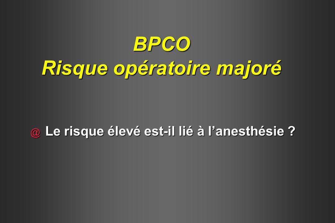 BPCO Risque associé à l anesthésie @ Éléments du risque respiratoire Sévérité de la BPCO Sévérité de la BPCO Facteurs de Co-morbidité (ASA) Facteurs de Co-morbidité (ASA) Type d anesthésie : AG > ALR Type d anesthésie : AG > ALR Durée de l anesthésie Durée de l anesthésie Site de l incision Site de l incision Wightman, Br J Surg, 1968 / Lockwood P, Respiration, 1973 / Garibaldi, Am J med, 1981Gold, Anesth Analg, 1983 / Pedersen, Acta Anaesthesiol Scand, 1990 / Kroenke, Arch Intern Med, 1992 Wightman, Br J Surg, 1968 / Lockwood P, Respiration, 1973 / Garibaldi, Am J med, 1981Gold, Anesth Analg, 1983 / Pedersen, Acta Anaesthesiol Scand, 1990 / Kroenke, Arch Intern Med, 1992