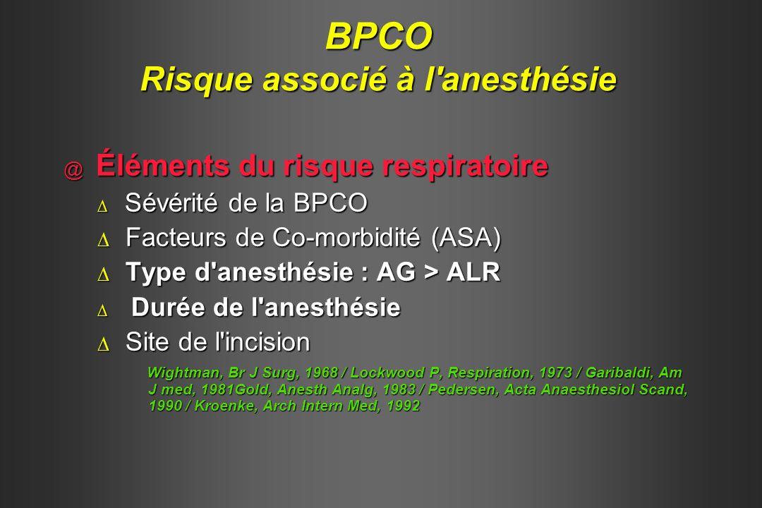 Wong, Anesth Analg, 1996 Risque anesthésique et BPCO AG / ALR Complications pulmonaires sévères OR IC P Incision abdominale 21 5-90 < 0,0001 Anesthésie Générale / ALR 6 2 -21 < 0,0085 Durée de l anesthésie (/h) 2 1-3 < 0,001 VEMS < 0,75 l VEMS / CV < 0,5 5 2-16 < 0,0001 8 2-31 < 0,0001