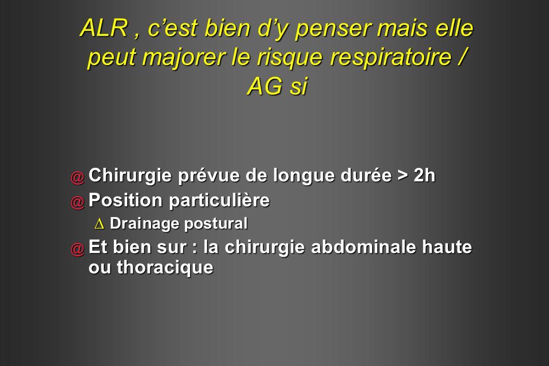 @ Chirurgie prévue de longue durée > 2h @ Position particulière Drainage posturalDrainage postural @ Et bien sur : la chirurgie abdominale haute ou th