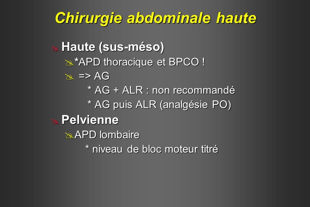 Haute (sus-méso) Haute (sus-méso) *APD thoracique et BPCO ! *APD thoracique et BPCO ! => AG => AG * AG + ALR : non recommandé * AG + ALR : non recomma