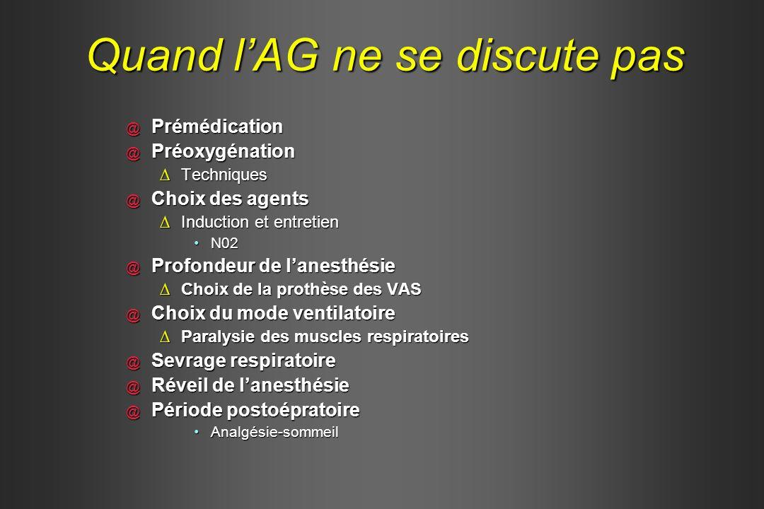 Quand lAG ne se discute pas @ Prémédication @ Préoxygénation TechniquesTechniques @ Choix des agents Induction et entretienInduction et entretien N02N