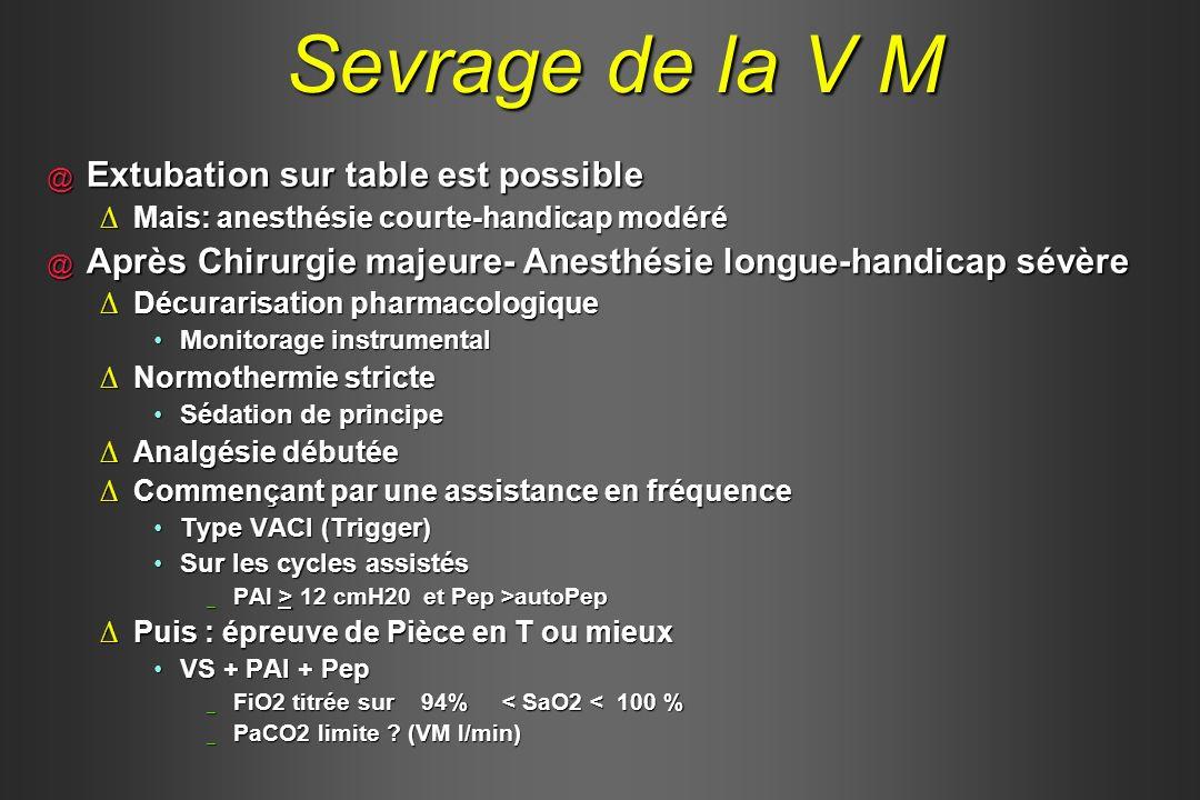 @ Extubation sur table est possible Mais: anesthésie courte-handicap modéréMais: anesthésie courte-handicap modéré @ Après Chirurgie majeure- Anesthés
