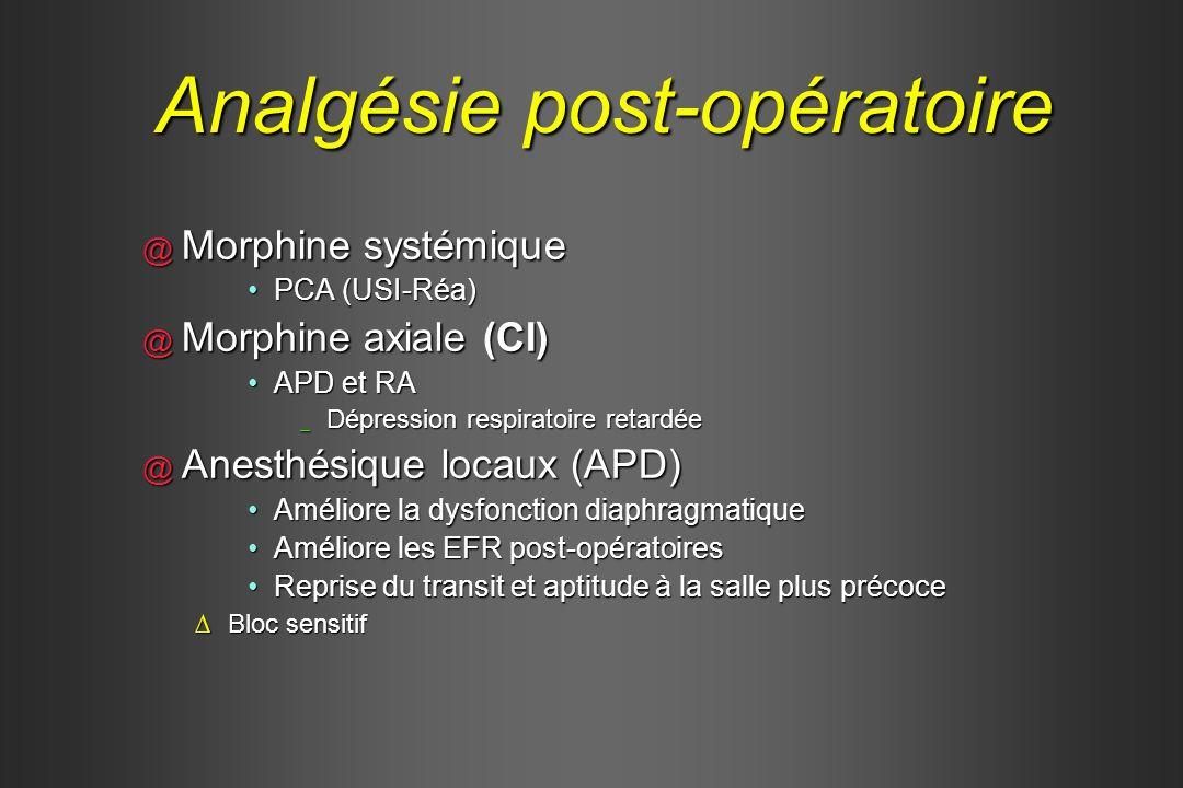 @ Morphine systémique PCA (USI-Réa)PCA (USI-Réa) @ Morphine axiale (CI) APD et RAAPD et RA _ Dépression respiratoire retardée @ Anesthésique locaux (A