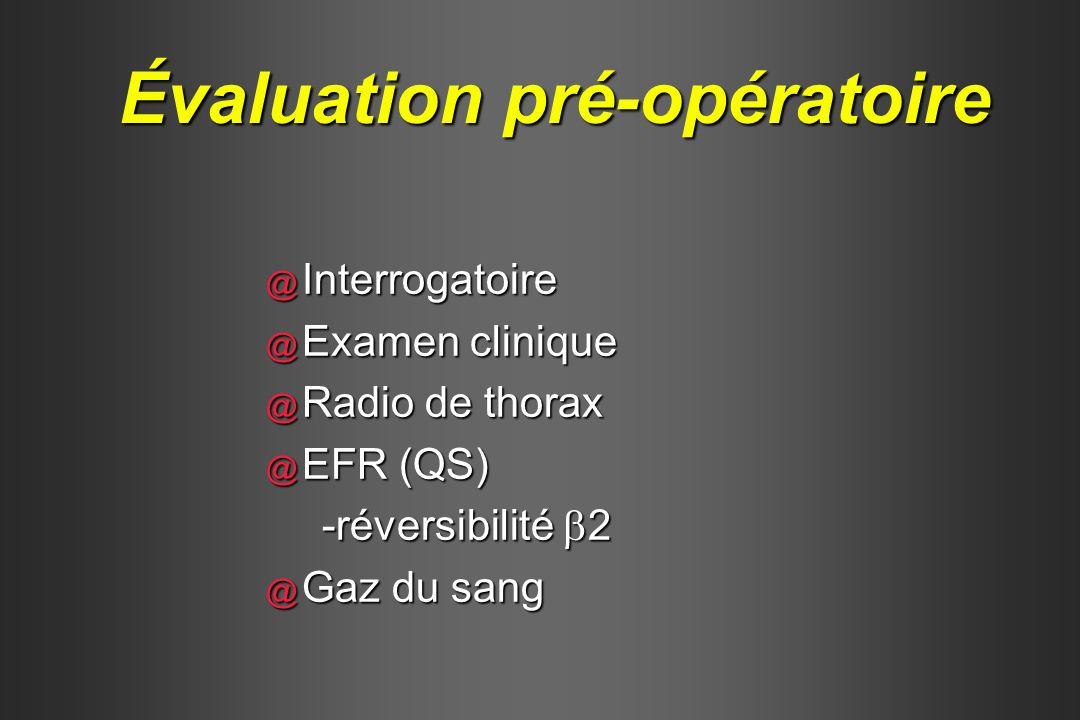 @ Interrogatoire @ Examen clinique @ Radio de thorax @ EFR (QS) -réversibilité 2 @ Gaz du sang Évaluation pré-opératoire