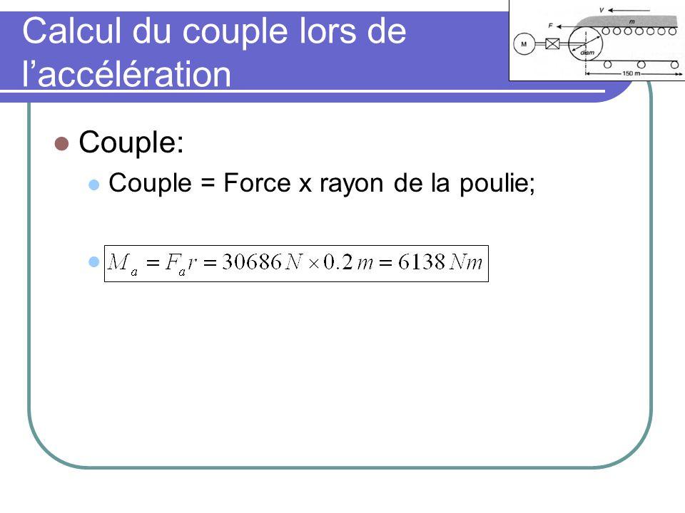 Calcul du couple lors de laccélération Couple: Couple = Force x rayon de la poulie;