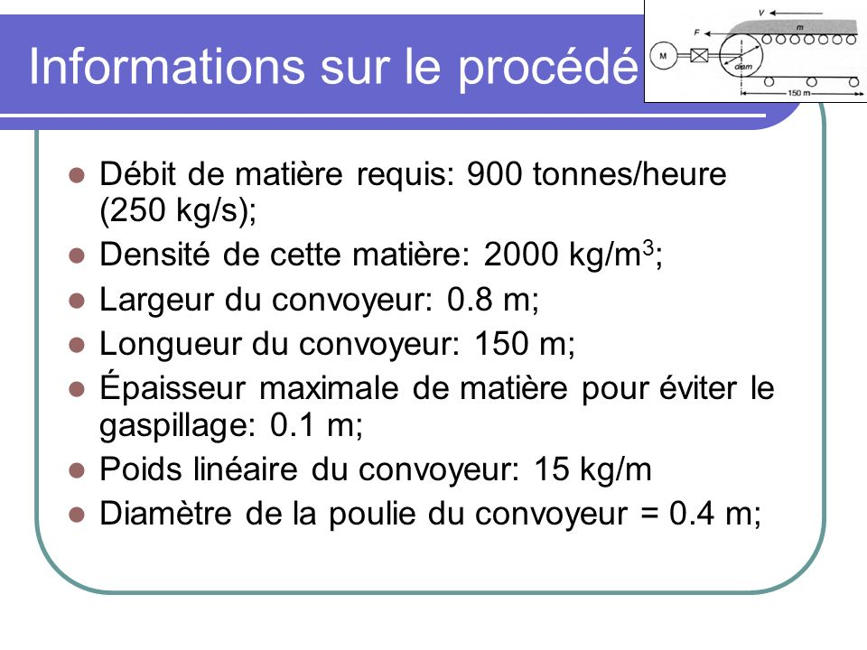Informations sur le procédé Coefficient de friction statique: 0.09; Coefficient de friction dynamique: 0.07; Information du manufacturier: Couple de démarrage du tapis (à pleine charge) de 6850 Nm; Spécification du client: Accélération complétée en 4 secondes.