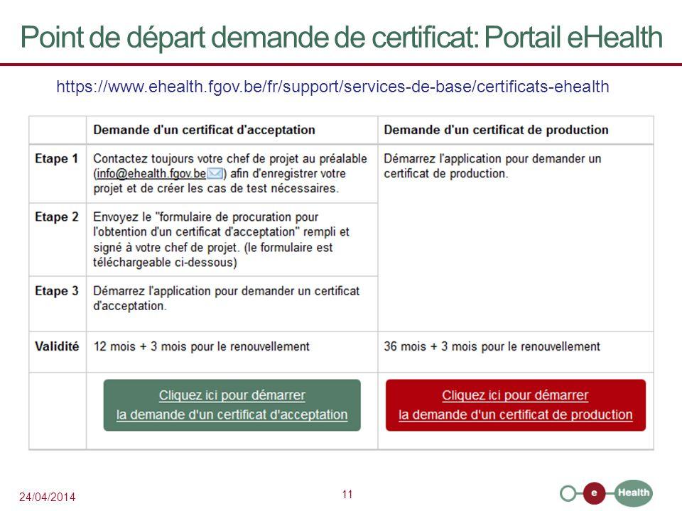 11 24/04/2014 Point de départ demande de certificat: Portail eHealth https://www.ehealth.fgov.be/fr/support/services-de-base/certificats-ehealth