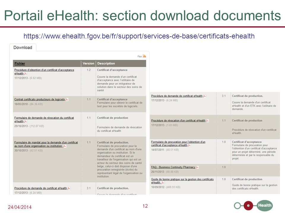 12 24/04/2014 Portail eHealth: section download documents https://www.ehealth.fgov.be/fr/support/services-de-base/certificats-ehealth