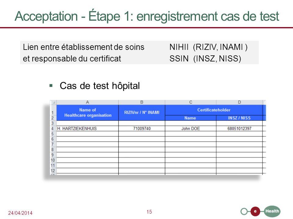 15 24/04/2014 Acceptation - Étape 1: enregistrement cas de test Cas de test hôpital Lien entre établissement de soins NIHII (RIZIV, INAMI ) et responsable du certificatSSIN (INSZ, NISS)