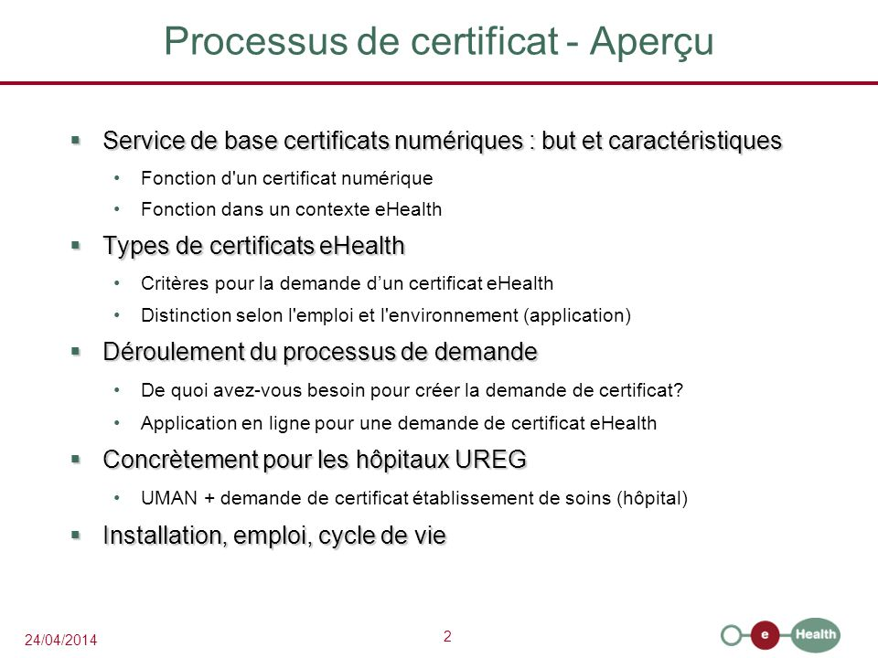 23 24/04/2014 Manuel Certificate Manager L application vous aide à parcourir les étapes pour introduire la demande de certificat Manuel en ligne