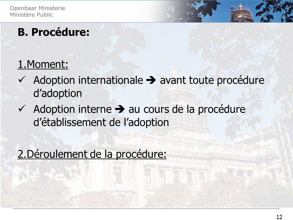 12 B. Procédure: 1.Moment: Adoption internationale avant toute procédure dadoption Adoption interne au cours de la procédure détablissement de ladopti
