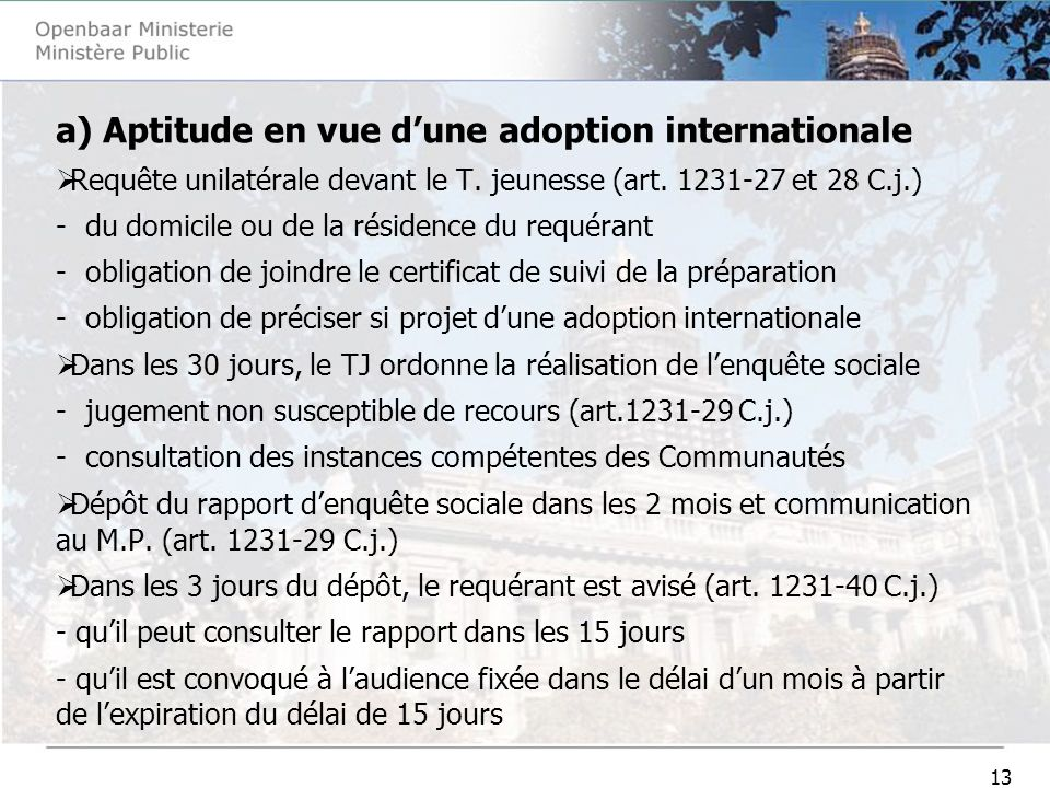 13 a) Aptitude en vue dune adoption internationale Requête unilatérale devant le T.