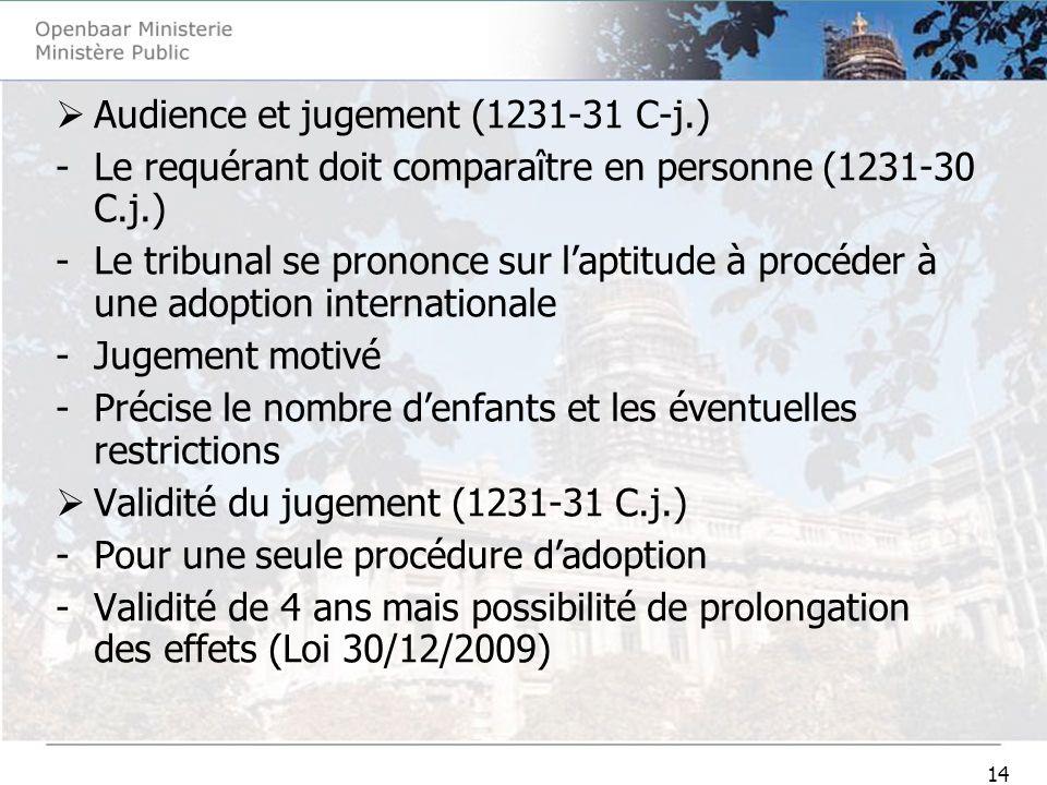 14 Audience et jugement (1231-31 C-j.) -Le requérant doit comparaître en personne (1231-30 C.j.) -Le tribunal se prononce sur laptitude à procéder à u