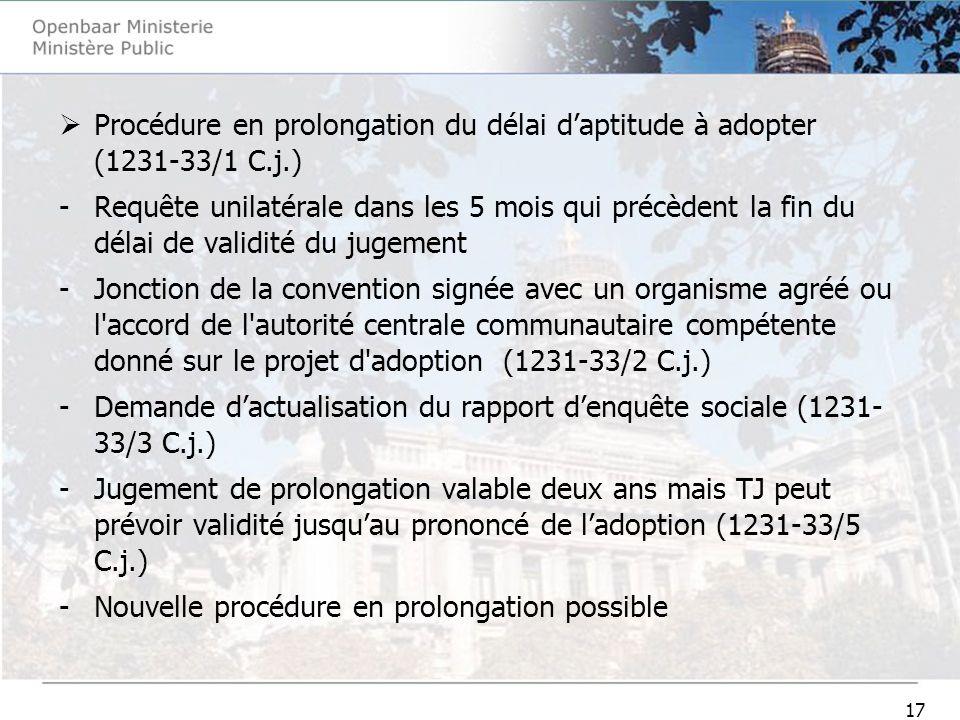 17 Procédure en prolongation du délai daptitude à adopter (1231-33/1 C.j.) -Requête unilatérale dans les 5 mois qui précèdent la fin du délai de valid