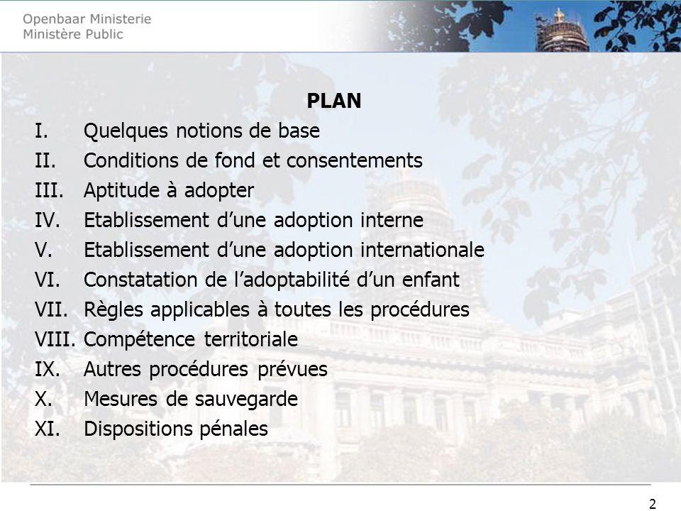2 PLAN I.Quelques notions de base II.Conditions de fond et consentements III.Aptitude à adopter IV.Etablissement dune adoption interne V.Etablissement