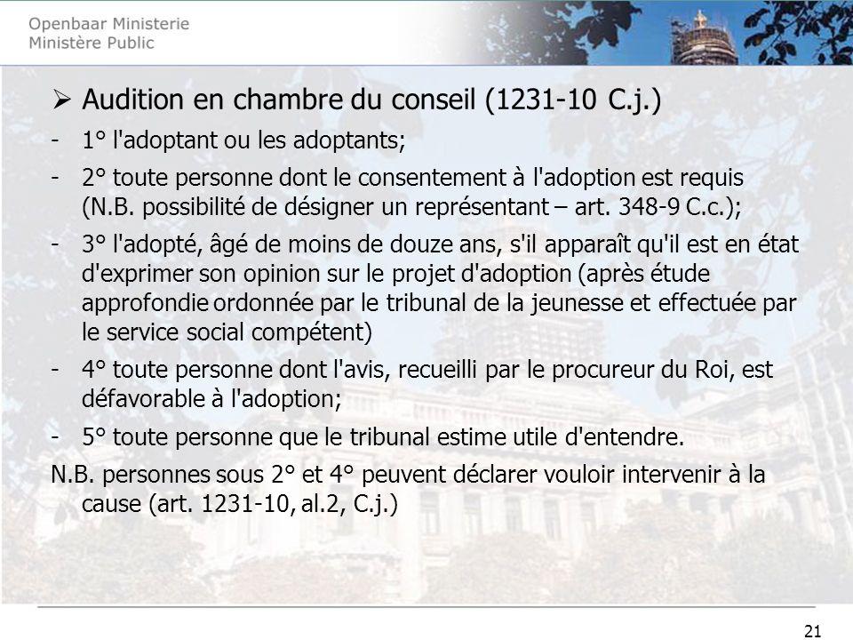 21 Audition en chambre du conseil (1231-10 C.j.) -1° l'adoptant ou les adoptants; -2° toute personne dont le consentement à l'adoption est requis (N.B