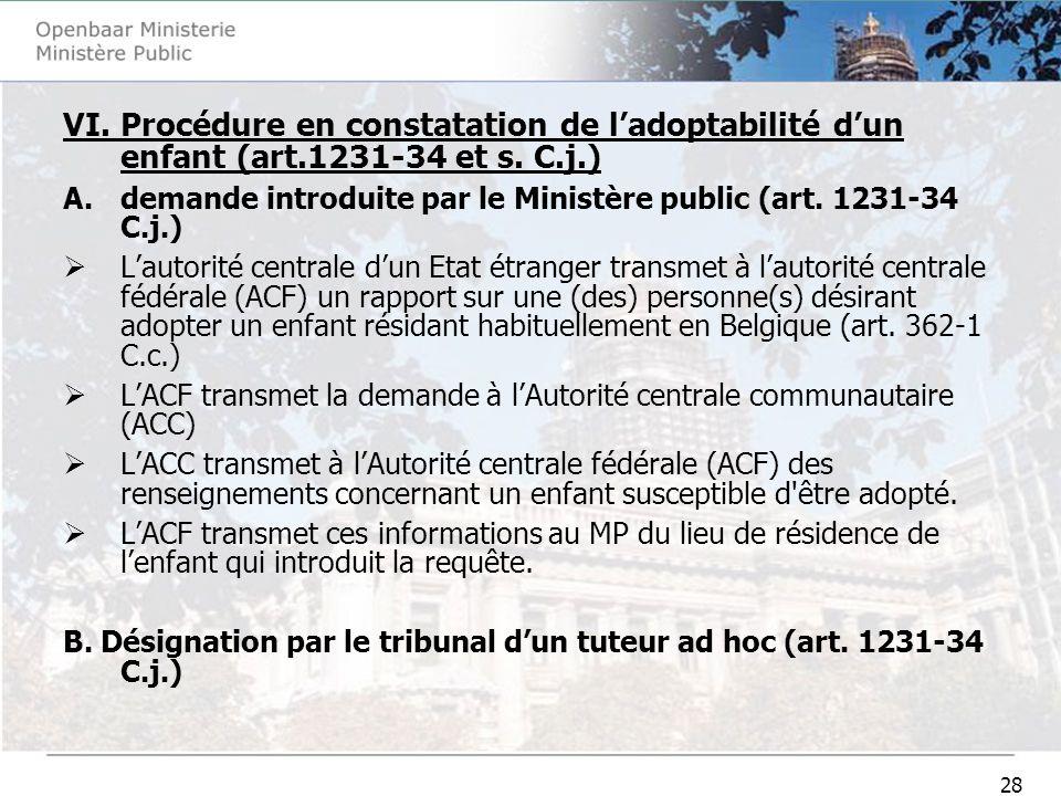 28 VI. Procédure en constatation de ladoptabilité dun enfant (art.1231-34 et s. C.j.) A.demande introduite par le Ministère public (art. 1231-34 C.j.)
