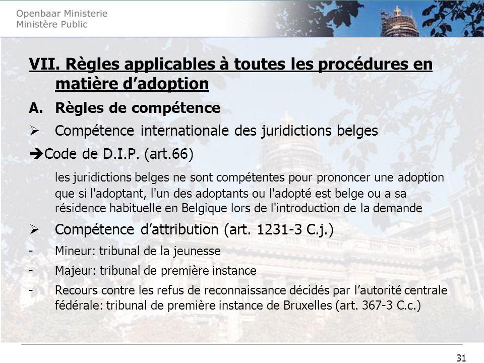 31 VII. Règles applicables à toutes les procédures en matière dadoption A.Règles de compétence Compétence internationale des juridictions belges Code
