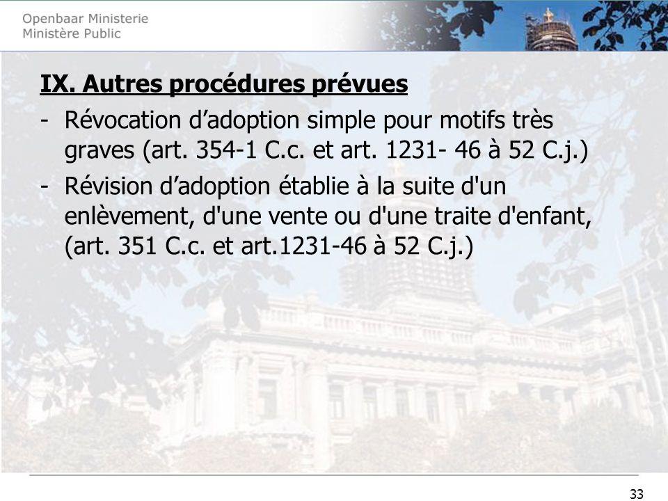 33 IX. Autres procédures prévues -Révocation dadoption simple pour motifs très graves (art. 354-1 C.c. et art. 1231- 46 à 52 C.j.) -Révision dadoption