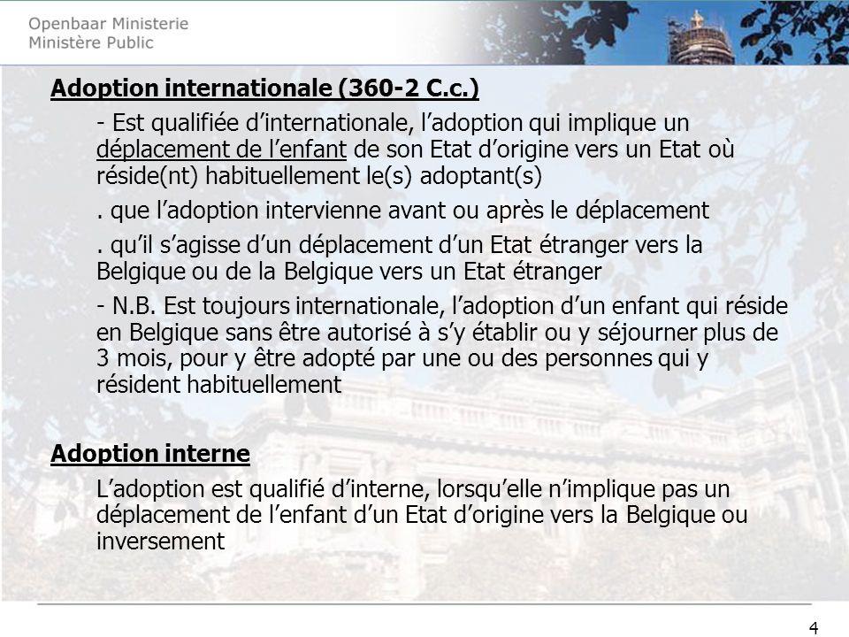 4 Adoption internationale (360-2 C.c.) - Est qualifiée dinternationale, ladoption qui implique un déplacement de lenfant de son Etat dorigine vers un