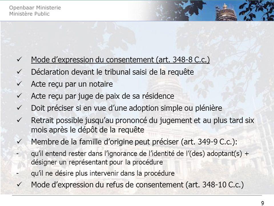 30 Audience et jugement (1231-37 C-j.) -le tribunal se prononce ensuite sur l adoptabilité de l enfant et vérifie si les conditions visées à l article 362-2 du Code civil sont remplies -le jugement mentionne que ces vérifications ont été effectuées Rapport du ministère public déposé au greffe dans les deux mois du jugement (1231-38 C.j.) -destiné à l autorité compétente de l Etat daccueil -le rapport comprend des renseignements sur l identité de l enfant, son adoptabilité, son milieu social, son évolution personnelle et familiale, son passé médical et celui de sa famille, ainsi que sur ses besoins particuliers -la structure et le contenu du rapport sont prévus dans les instructions des procureurs généraux du 26 juin 2006 -dans les 3 jours, transmission dune copie du rapport et du jugement par le greffe à lautorité centrale fédérale (1231-38 C.j.)+ avis au représentant du mineur -lautorité centrale fédérale transmet le jugement à lautorité centrale communautaire (art.