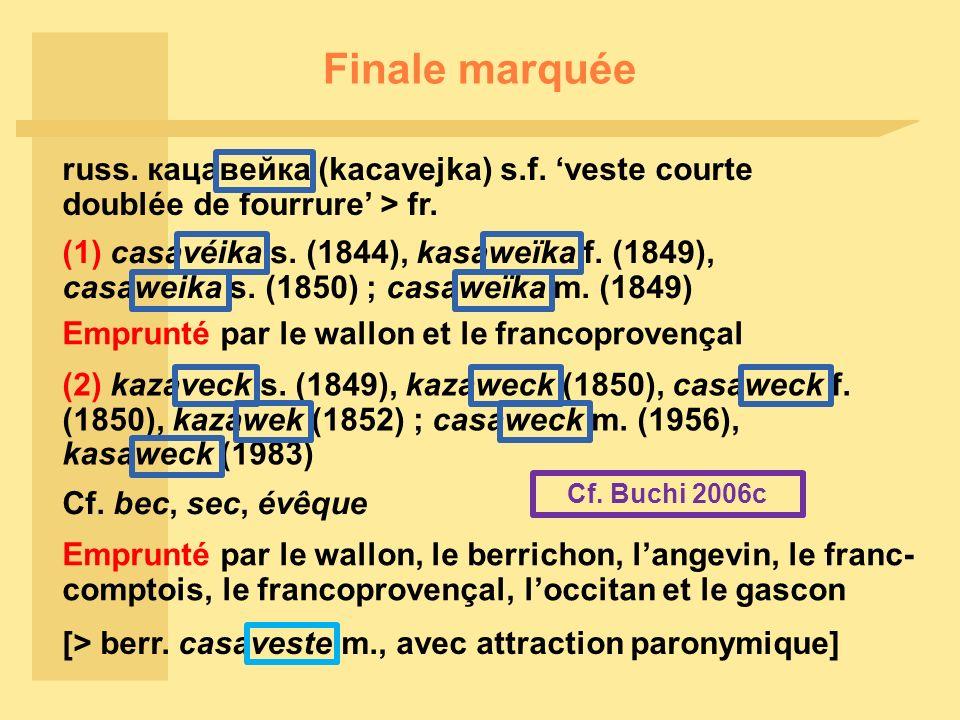 Finale marquée russ.кацавейка (kacavejka) s.f. veste courte doublée de fourrure > fr.