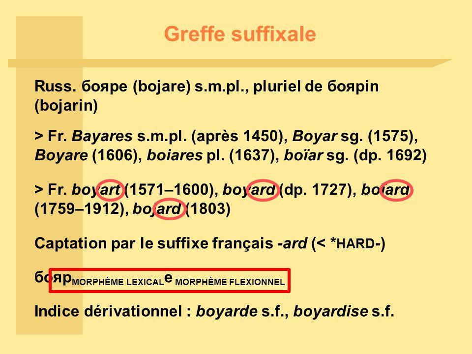 Greffe suffixale Russ.бояре (bojare) s.m.pl., pluriel de боярin (bojarin) > Fr.