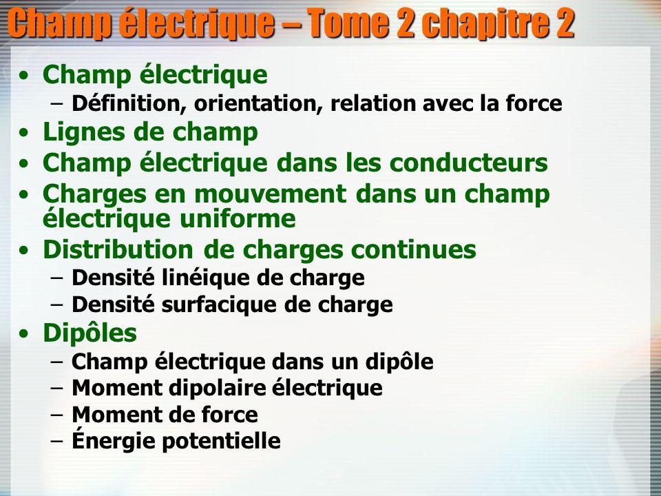 Champ électrique – Tome 2 chapitre 2 Champ électrique –Définition, orientation, relation avec la force Lignes de champ Champ électrique dans les condu